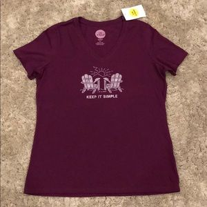 Life is Good Adirondacks V-Neck T-Shirt NWT
